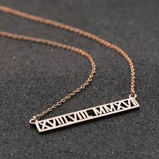 Custom Necklace Aliexpress Com Buy Roman Number Customized Necklace Horizontal