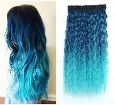 blue hair extensions 22 curly blue to sky blue two colors ombre hair