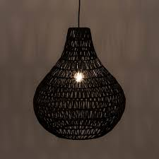 cable drop black wicker pendant light arc lighting