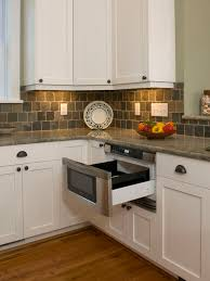 Slate Backsplash Tile Kitchen Traditional by Kitchen With Undercounter Microwave Drawer Granite Countertop