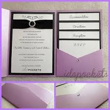 pocket fold purple lavender shimmer wedding invitations diy pocket fold