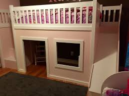 ana white playhouse loft bed with stairs and slide diy projects