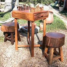 groovystuff teak hill country chess table set with stools hayneedle