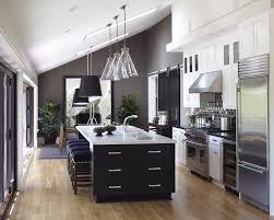 Black Galley Kitchen - galley kitchen with island kitchen transitional with black tile