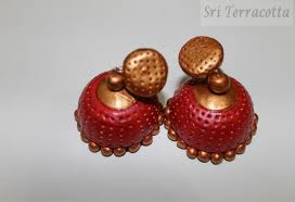 jhumkas earrings big terracotta jhumkas earrings clay handcrafted jhumkas