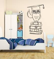 online get cheap books wall sticker aliexpress com alibaba group wall sticker owl student college education books for kids room removable vinyl wall art stickers wall