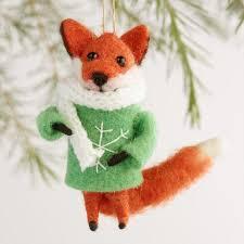 felted wool fox ornaments set of 3 world market