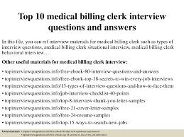 Billing Clerk Resume Sample by Top10medicalbillingclerkinterviewquestionsandanswers 150319102946 Conversion Gate01 Thumbnail 4 Jpg Cb U003d1426761284