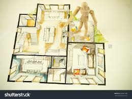 watercolor and ink freehand sketch drawing of house floor plan as