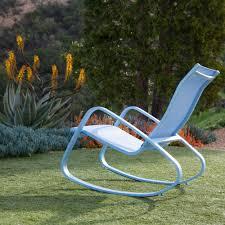 Aluminum Outdoor Chairs Royal Garden Eero Aluminum Outdoor Sling Rocking Chair Blue
