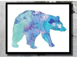 bear watercolor art print bear poster winter wall decor bear