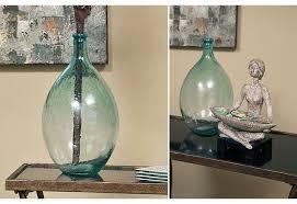 Vase French Green Teal Glass Bubble Vase Bottle Vintage Classic Antique