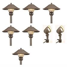 Landscaping Light Kits Low Voltage Led Bronze Outdoor Light Kit 8 Pack