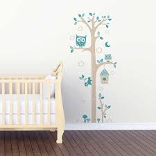 sticker pour chambre bébé sticker mural toise chouettes gris et bleu motif bébé garçon