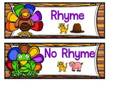 buddies rhyming sort thanksgiving file folder phonemic awareness