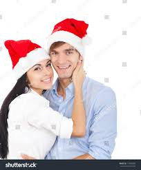 christmas holiday happy couple wear red stock photo 117683986