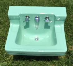 vintage wall hung sink vintage porcelain high back jadite green wall mount sink american