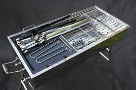 amazon com stainless steel charcoal grill kebab bbq portable