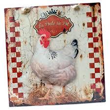 poule deco cuisine plaque murale décorative la poule au pot en métal animaux ferme