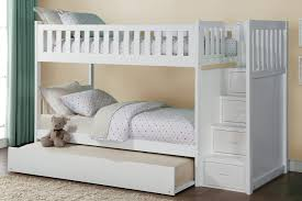 White Bunk Bed With Trundle Galen White Bunk Bed With Reversible Step Storage And Trundle For