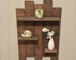 Wooden Shelves Pics by Bathroom Shelf Etsy
