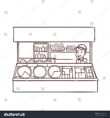 street food store seller hand drawn stock vector 718982152