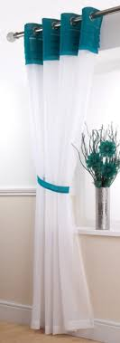 Teal And White Curtains Interesting Teal And White Curtains And Voile Curtain Panels Teal