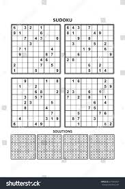 four sudoku puzzles comfortable easy yet stock vector 671864287