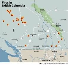 Wildfire Bc Map Interactive by Smoky Skies Persist As Fires Rage Over A Wide Area The Spokesman