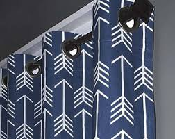 White And Navy Curtains Navy Arrow Curtains Etsy