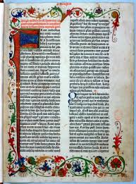 the gutenberg bible zoom in on a page from an original copy