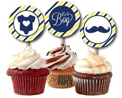 navy blue and yellow baby shower cupcake toppers printable its a