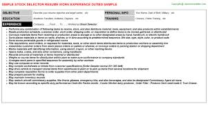Order Selector Resume Stock Selector Job Title Docs