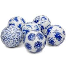 handmade set of 6 blue and white decorative 4 inch porcelain balls
