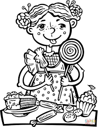 eating a lot of candy and snacks coloring page free