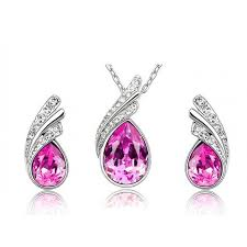 drop shaped necklace images Buy online necklace set water drop shaped pendant set white jpg