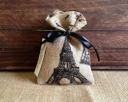 burlap party favor bags letter eiffel tower burlap favor bags wedding