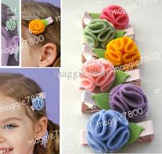 Flower Clips For Hair - 2 5 girls hair clips baby tiny hairbow hair bows handmade wool