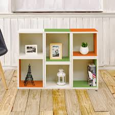 Green Bookcase Way Basics Arlington White U0026 Green U0026 Orange Stackable Modular Open