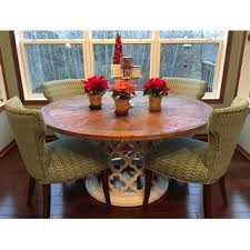 vince reclaimed wood 60 inch moroccan trellis drum dining table by
