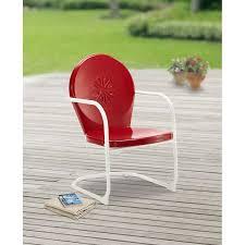 Red Metal Chair Mainstays Retro C Spring Metal Chair Red Walmart Com