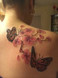 monarch butterfly and cherry blossoms in honor of my mom who