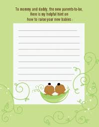 baby shower notes two peas in a pod american baby shower notes of advice