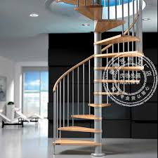 Villa Stairs Design Beijing Wood Rotating Wood Glass Penthouse Villa Stairs Factory