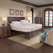 modern split king adjustable bed with nightstand and chaise king