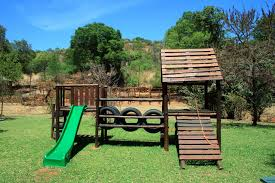 wooden jungle gym with slide free stock photo public domain pictures