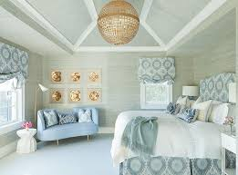 blue and gray bedroom with grasscloth wallpaper contemporary