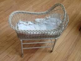 Wicker Crib Bedding Antique Wicker Small Doll Crib W Orig Plastic Wheels The