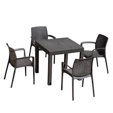 Rattan Patio Dining Set - outsunny 5 piece all weather rattan style wicker outdoor patio