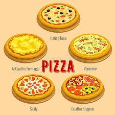 cuisine types pizza cuisine menu card placard stock vector illustration